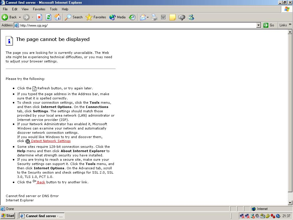 Ethiopian journalists sent CPJ this screen shot of what they see when they try to access our site.