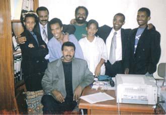 Setit's staff in happier days in 2000.
