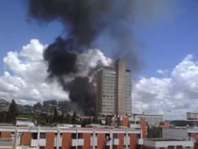 A state TV building burns. (Sobika.com)