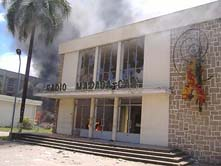 The state broadcaster on fire. (Antanarivo mg)