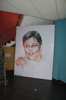 A drawing of slain editor Lasantha Wickramatunga stands in the lobby of The Sunday Leader. (CPJ)