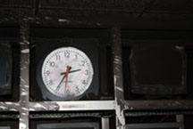 A clock in the master control room of Sirasa TV remains fixed on the time of the attack. (CPJ)