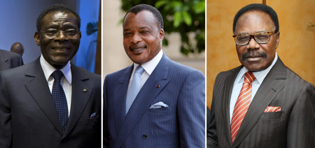 Ossébi had great interest in a lawsuit against three Africa leaders. From left are Equatorial Guinean President Teodoro Obiang, Congolese President Denis Sassou Nguesso, and Gabonese President Omar Bongo. (AFP)