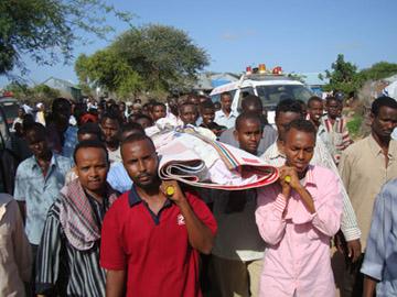 The funeral of Mukhtar Mohamed Hirabe. (NUSOJ)