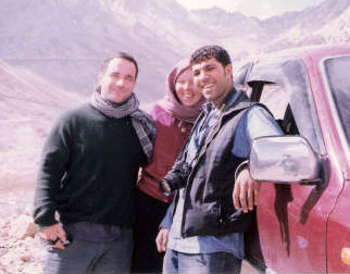 The author, right, with The Nation's Christian Parenti, left, and journalist Leslie Knott in Afghanistan.