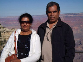 Upali Tennakoon, seen here with his wife, Dhammika, in Arizona, is one of 11 Sri Lankan journalists driven into exile.