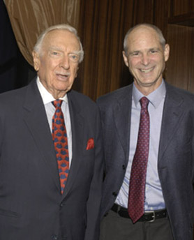 Walter Cronkite with CPJ founder and board member Michael Massing. (CPJ)