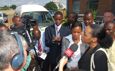 Chansa Kabwela speaks to reporters. (Thomas Nsama)