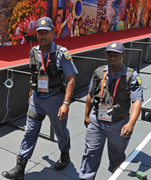 Police patrol the World Cup grounds in South Africa. (AFP)