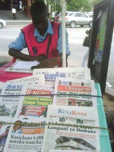 Kulikoni on a newsstand in Tanzania. (Mbarak Islam)