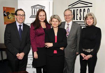 Left to right: Simon, Ognianova, Bokova, Steiger, Garrels (UNESCO)