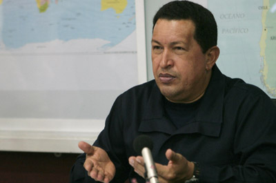 President Chavez takes to the air, again. (Reuters)