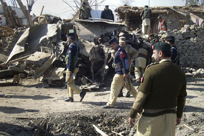 The blast in Lower Dir, seen here, was just one of many recent deadly explosions in Pakistan's North West Frontier Province. (Reuters)