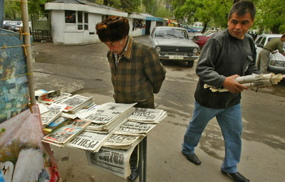 A man peruses newspapers in Dushanbe. (Reuters)