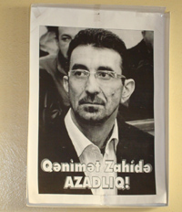 "A 2008 poster says: ""Freedom for Genimet Zakhidov!"" (CPJ)"