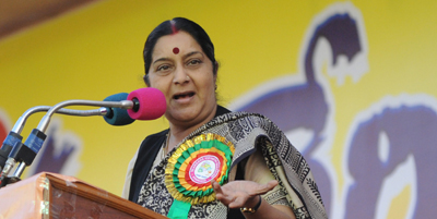 """Sushma Swaraj, head of India's BJP party, says journalists encourage the """"paid news"""" practice. (AFP)"""