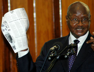 Museveni accused press of sabotage in 2008 address. (Monitor)