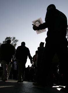A vigil for the murdered reporter Uma Singh. (Reuters/Shruti Shrestha)