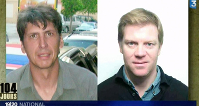 French journalists Hervé Ghesquière, left, and Stéphane Taponier, held captive in Afghanistan. (AFP)