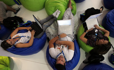 "Brazilian students surf the Web at a ""Campus Party"" in São Paulo. (Reuters/Paulo Whitaker)"