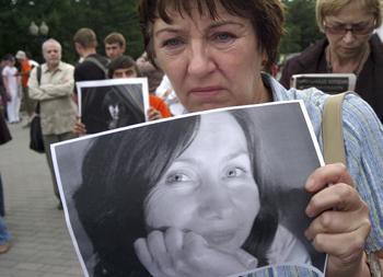 Estemirova is remembered at a Moscow service. (AP/Alexander Zemlianichenko)