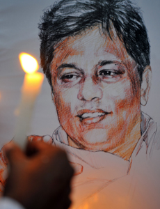 A portrait of slain editor Lasantha Wickramatunga. (AFP/Lakruwan Wanniarachchi)