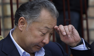 Bakiyev's government invoked Microsoft's name in a raid that shut a critical TV station. (AP/Sergei Grits)
