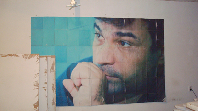 A poster of Elmar Huseynov at the Institute for Reporters' Freedom and Safety in Baku. (CPJ/Nina Ognianova)