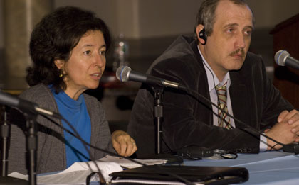 María Teresa Ronderos and Sergei Sokolov at CPJ's Impunity Summit at Columbia. (CPJ)