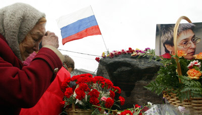 A memorial to Politkovskaya. (Reuters/Anton Denisov)