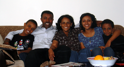 The Berhane family, together in Toronto after eight years apart. From left are Mussie, Aaron, Miliete, Frieta, and Eiven. (Family photo)