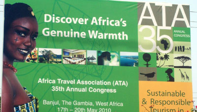 A billboard for a tourism conference in Gambia. (CPJ)