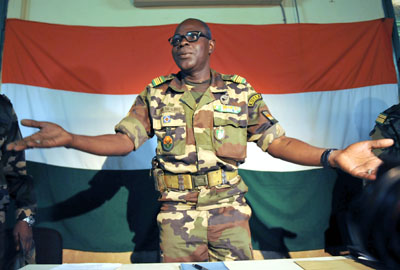 Salou Djibo is leader of the coup that overthrew Niger's President Mamadou Tandja. (AFP/Sia Kambou)