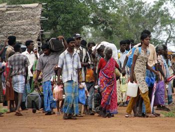 A refugee camp in Manik Farm. As many as 100,000 ethnic Tamils were displaced by the war. (AP/Sanath Priyantha)
