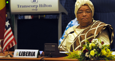 President Ellen Johnson Sirleaf, Africa's first female head of state, is up for reelection in October. (AFP)