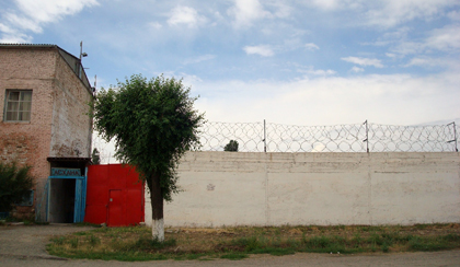 CPJ was turned away from visiting journalist Ramazan Yesergepov in this prison colony in Taraz, Kazakhstan. (Nina Ognianova/CPJ)