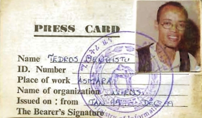 Tedros Menghistu's press card from Eritrea. He lives in Houston now.