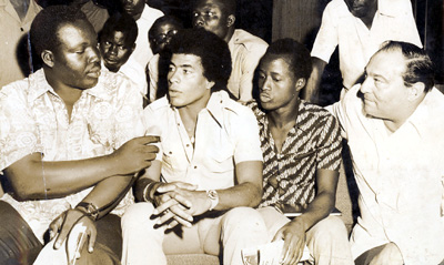 The author, far left, interviewing Brazilian soccer players in 1975. (Courtesy Eugène Dié Kacou)