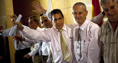 Newly freed political prisoners at a press conference in Madrid. (AP/Emilio Morenatti)