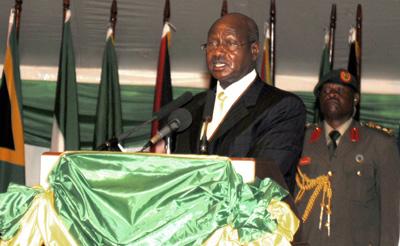 Museveni at the African Union summit. (AP/Stephen Wandera)