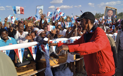 Kagame at a rally in Nyagatare. (AP/Margaret Cappa)