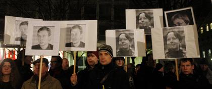 A vigil for Anastasiya Baburova and Stanislav Markelov was held in January in Berlin. (AP/Franka Bruns)