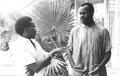 The author interviewing Danny Glover in the 1970s. (Courtesy Djib Diedhiou)