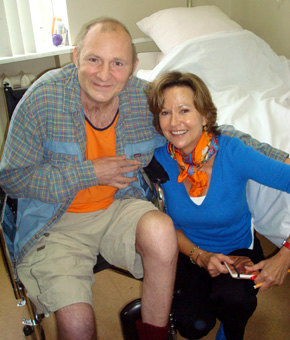 Beketov, with CPJ's Kati Marton, suffered injuries so severe he lost a limb and the ability to speak. (CPJ/Nina Ognianova)