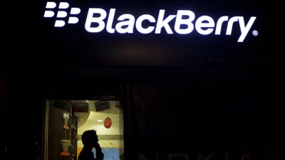 A Blackberry logo is prominently displayed in Ahmadabad, India. (AP)