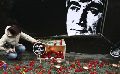 People keep vigils in hopes for justice in the murder of Hrant Dink. (Reuters)
