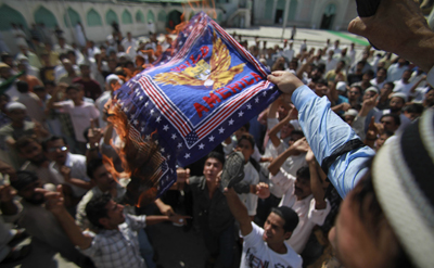 Authorities have sporadically restricted outlets from covering ongoing demonstrations in the predominantly Muslim region since July. (AP)