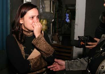 Yulia Kozlova, head of Kometa S, as her printing house is shuttered. (Respublika)