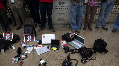 Journalists protest anti-press violence in Tijuana. (AP/Guillermo Arias)