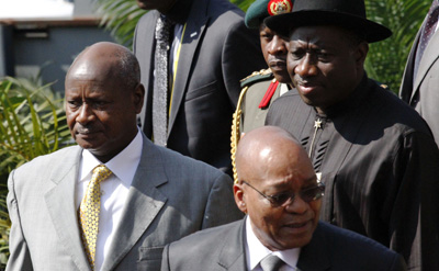 Uganda's Yoweri Museveni, left, South Africa's Jacob Zuma, and Nigeria's Goodluck Jonathan at this summer's African Union Summit in Kampala. (AFP/Marc Hofer)